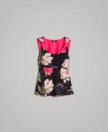 Floral print crêpe de Chine top All Over Black Flowers Print Woman 191MT2213-0S