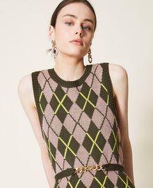 Robe jacquard «Coltan» à carreaux Multicolore Vert «Amazonie» / Rose «Wood Rose» Femme 212AP3234-04