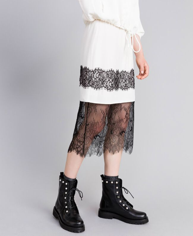Mid-length silk skirt White Snow Woman PA82EP-03