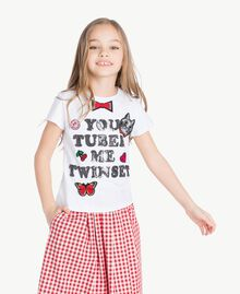 "T-shirt paillettes Blanc ""Papers"" Enfant GS82RA-02"