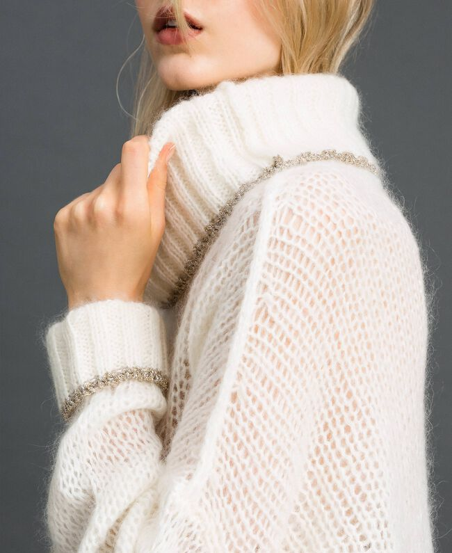 Mohair jumper with lurex stripes Papyrus White Woman 192TP3292-04