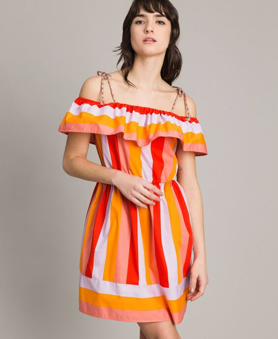 Multicolour striped poplin dress