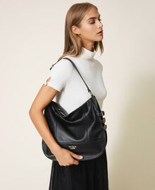 Faux leather hobo bag with straps Black Woman 202MA7041-0S