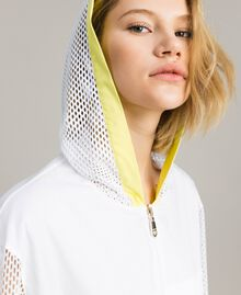 Poplin and mesh parka White Woman 191LL23FF-04