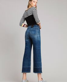 Jean fatigue à taille haute Bleu Denim Femme 191MP2474-04