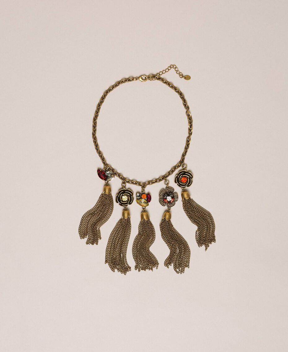 """Necklace with floral pendants and tassels """"Aged Coppery Brass"""" Gold Woman 201TA430M-01"""