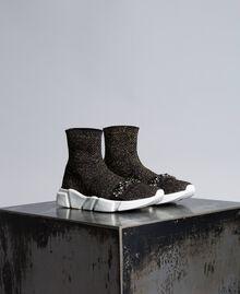 Sneakers in tessuto stretch con castoni Nero Donna CA8TNC-01