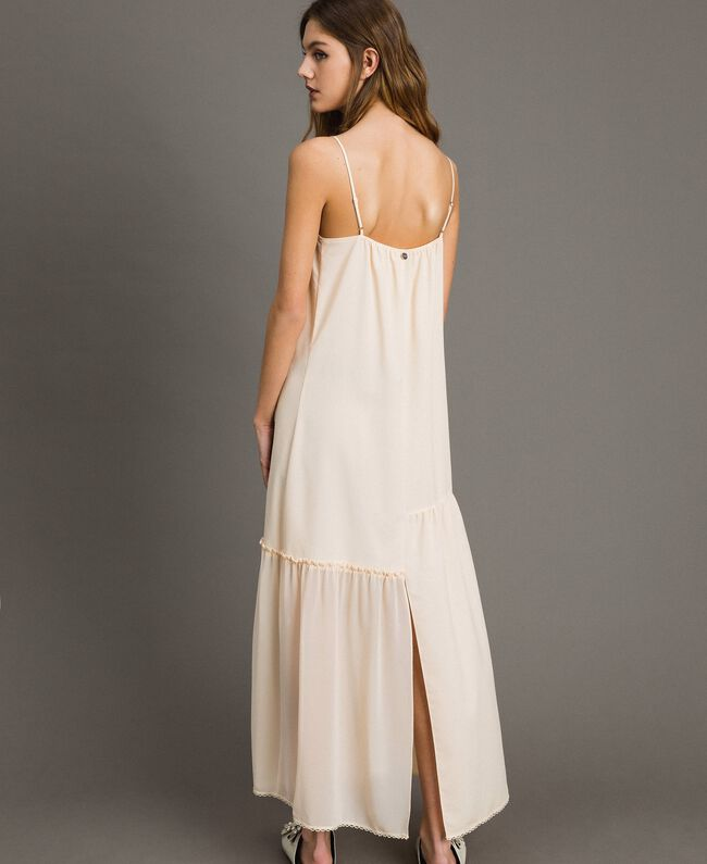 Crêpe de Chine slip dress with lace Black Woman 191ST2064-03