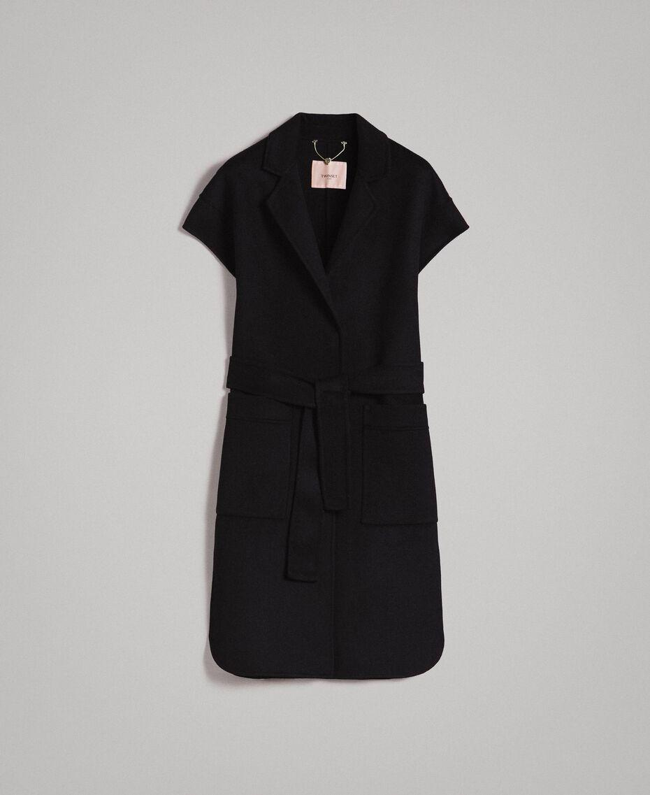 Double wool cloth waistcoat Black Woman 191TP2482-0S