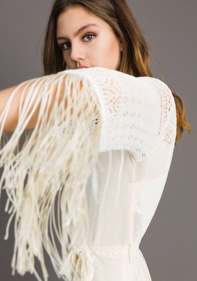 Mesh stitch fringed dress