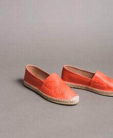 """Espadrilles en cuir avec papillon Rouge """"Géranium Corail"""" Femme 191TCT05A-01"""