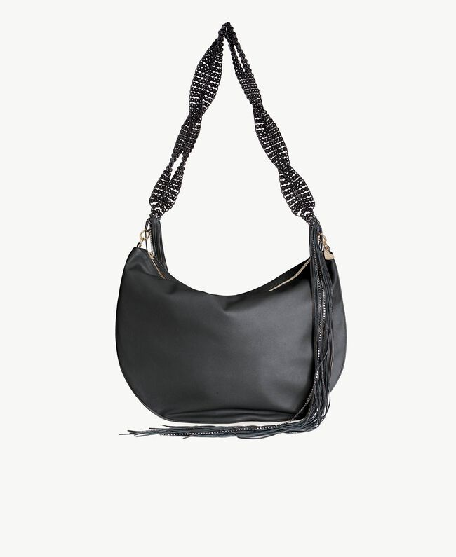 TWINSET Fringed hobo bag Black Woman OS8TDA-01