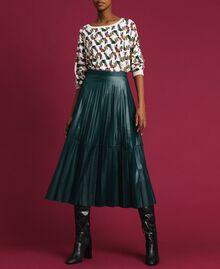 Jupe mi-longue en similicuir plissé Vert «Forêt» Femme 192ST2015-01