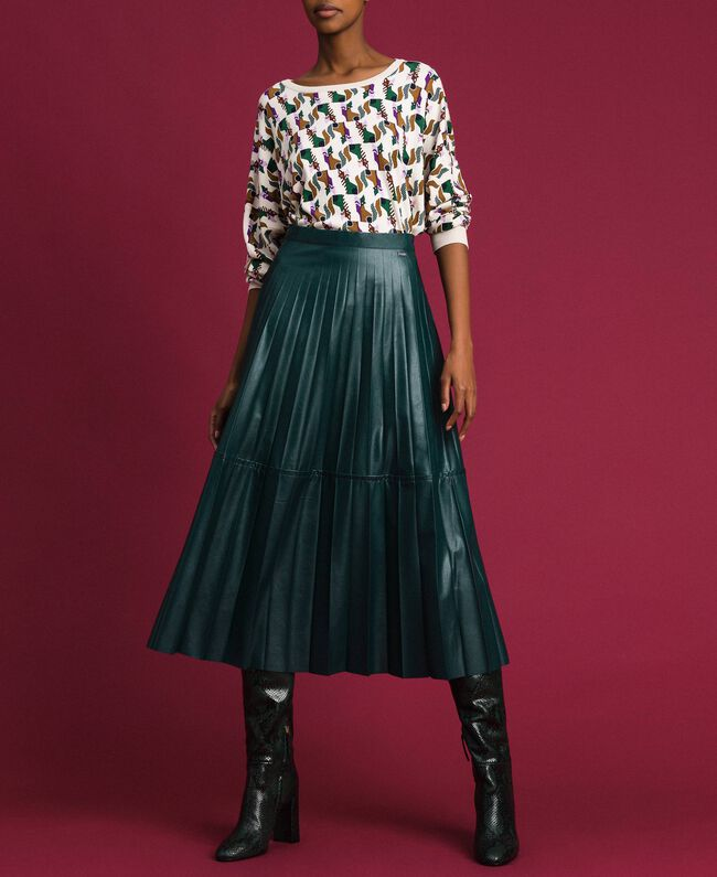 """Faux leather pleated midi skirt """"Forest"""" Green Woman 192ST2015-01"""