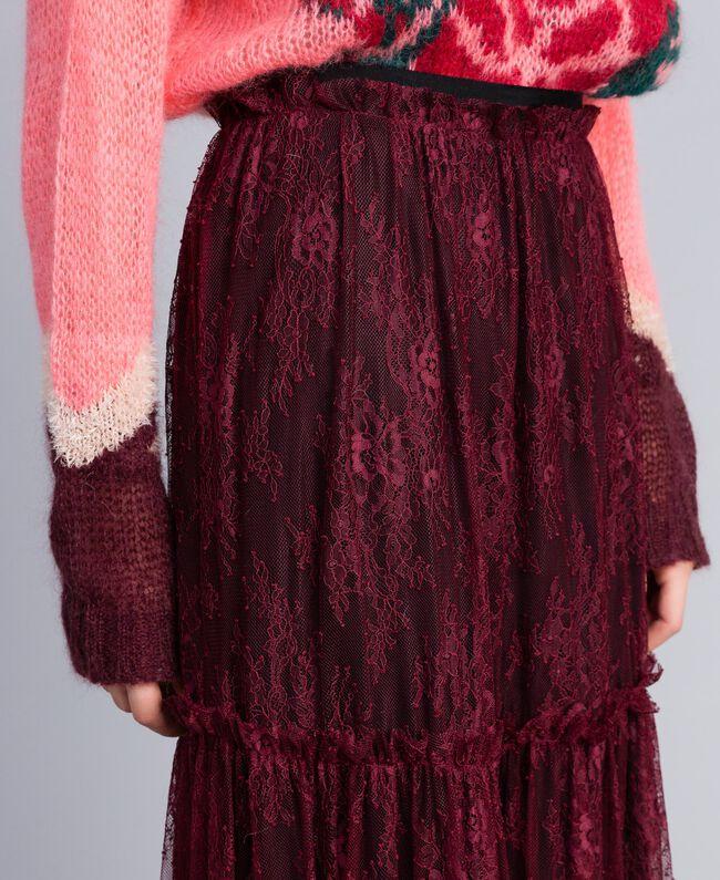 Valencienne lace long skirt Bordeaux Woman PA82FZ-04