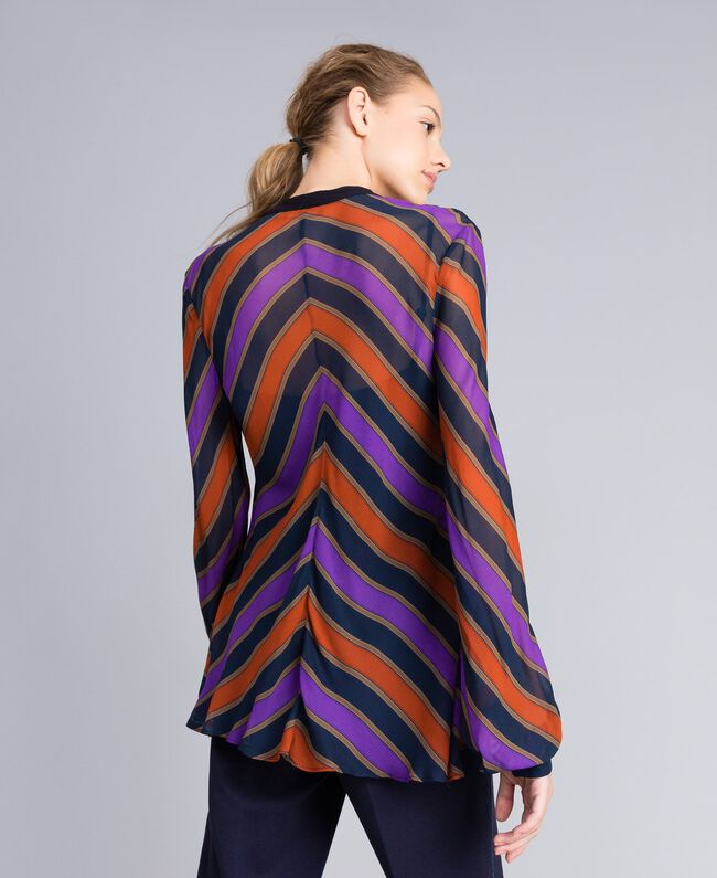 Blusa in georgette a righe Stampa Riga Multicolor Donna TA8292-04