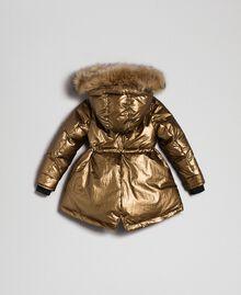 Wattierte Jacke mit Pelzimitat an der Kapuze Gold Gelb Kind 192GB2070-0S