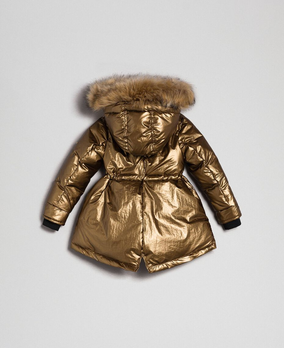 Hooded puffer jacket with faux fur Gold Yellow Child 192GB2070-0S