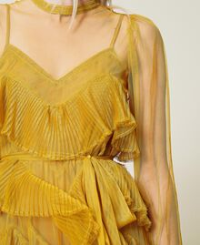 Pleated flounce tulle dress Saffron Yellow Woman 212TP2200-05
