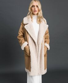 "Faux shearling reversible coat ""Vanilla"" White / Creme Caramel Woman 192MT2020-02"