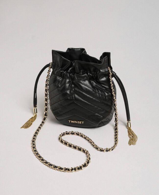 Petit sac seau en cuir matelassé Noir Femme 192TA7105-04