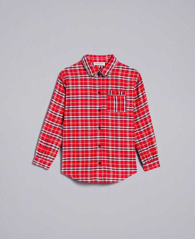 """Длинная рубашка в жаккардовую клетку Красный Жаккард """"Клетка Мак"""" Pебенок GA824N-01"""