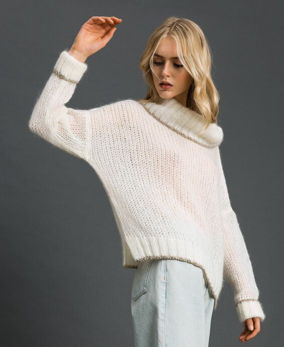 Mohair jumper with lurex stripes