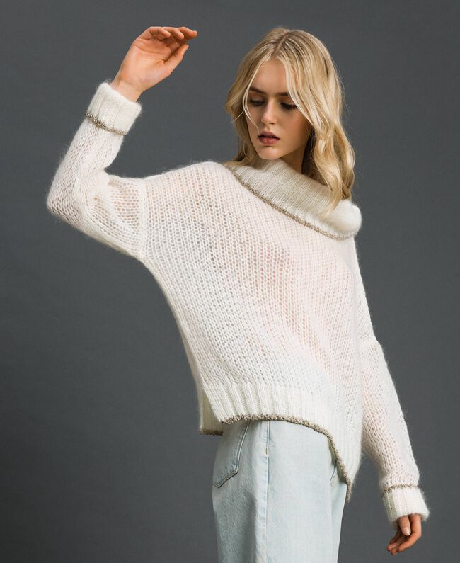 Mohair jumper with lurex stripes Papyrus White Woman 192TP3292-01