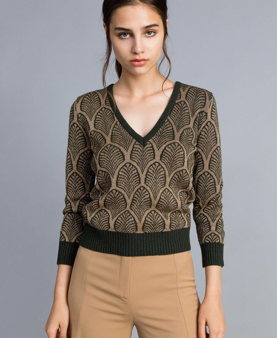 Pull en laine mélangée et lurex jacquard Jacquard Vert Forêt Or Lurex Femme TA8323-02