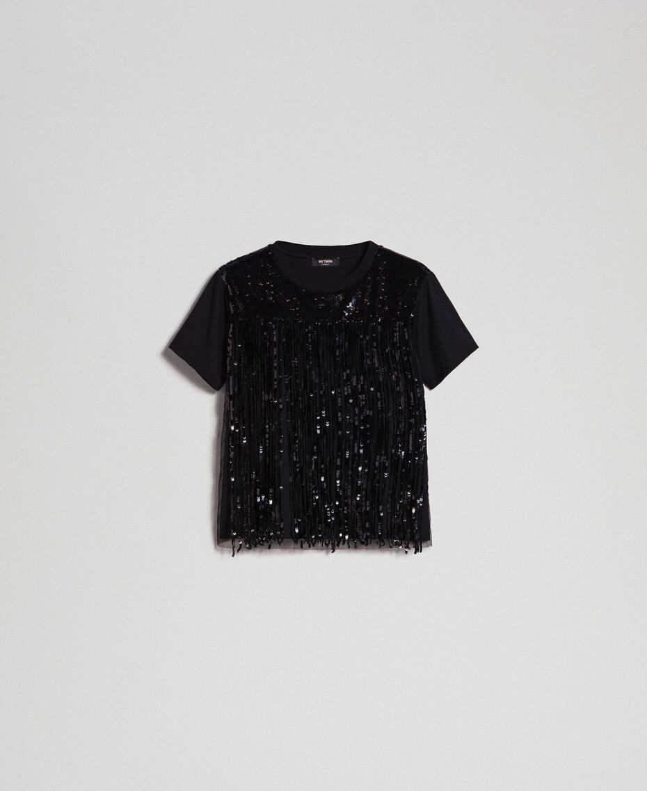 T-shirt with sequinned fringes Black Woman 192MT2350-0S