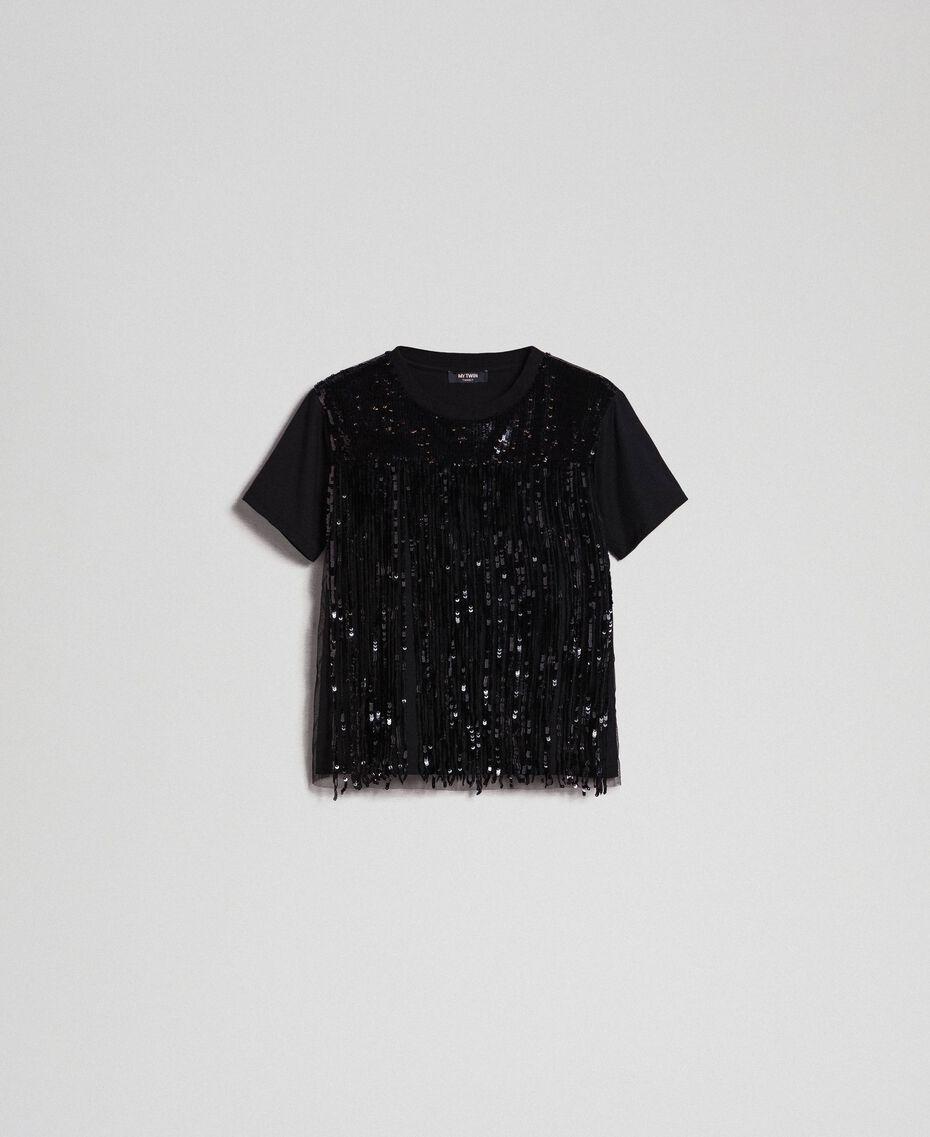 T-shirt avec franges en sequins Noir Femme 192MT2350-0S