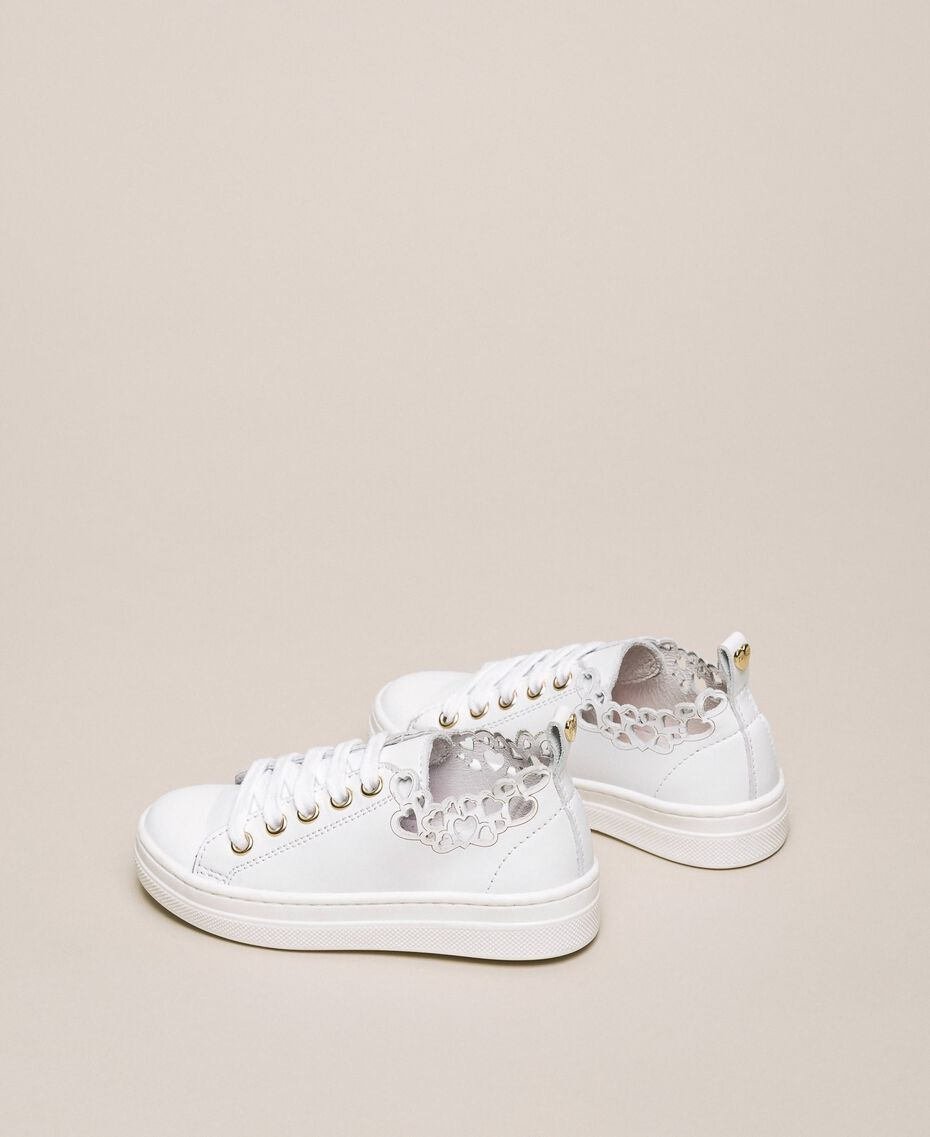 Nappa leather trainers with embroidery White Child 201GCB070-03