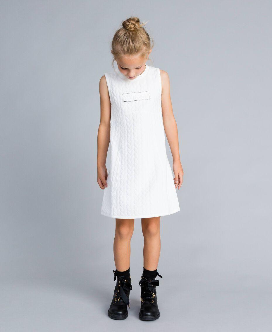 Matelassé fleece dress with rhinestones Off White Child GA82NP-0S