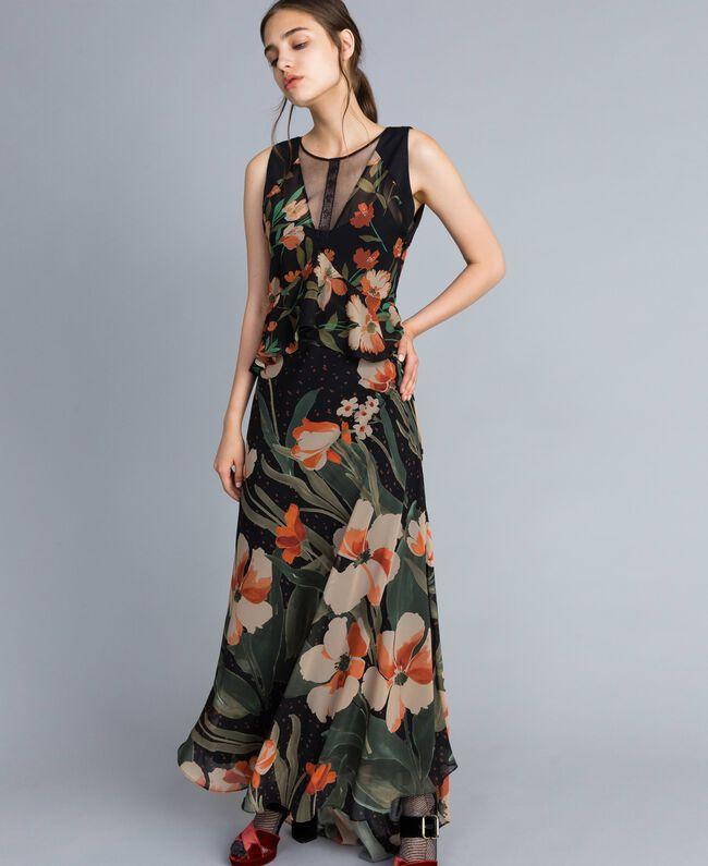 """Abito lungo in chiffon a stampe floreali Stampa Black Tulipano """"Tea Garden"""" Donna TA825P-01"""