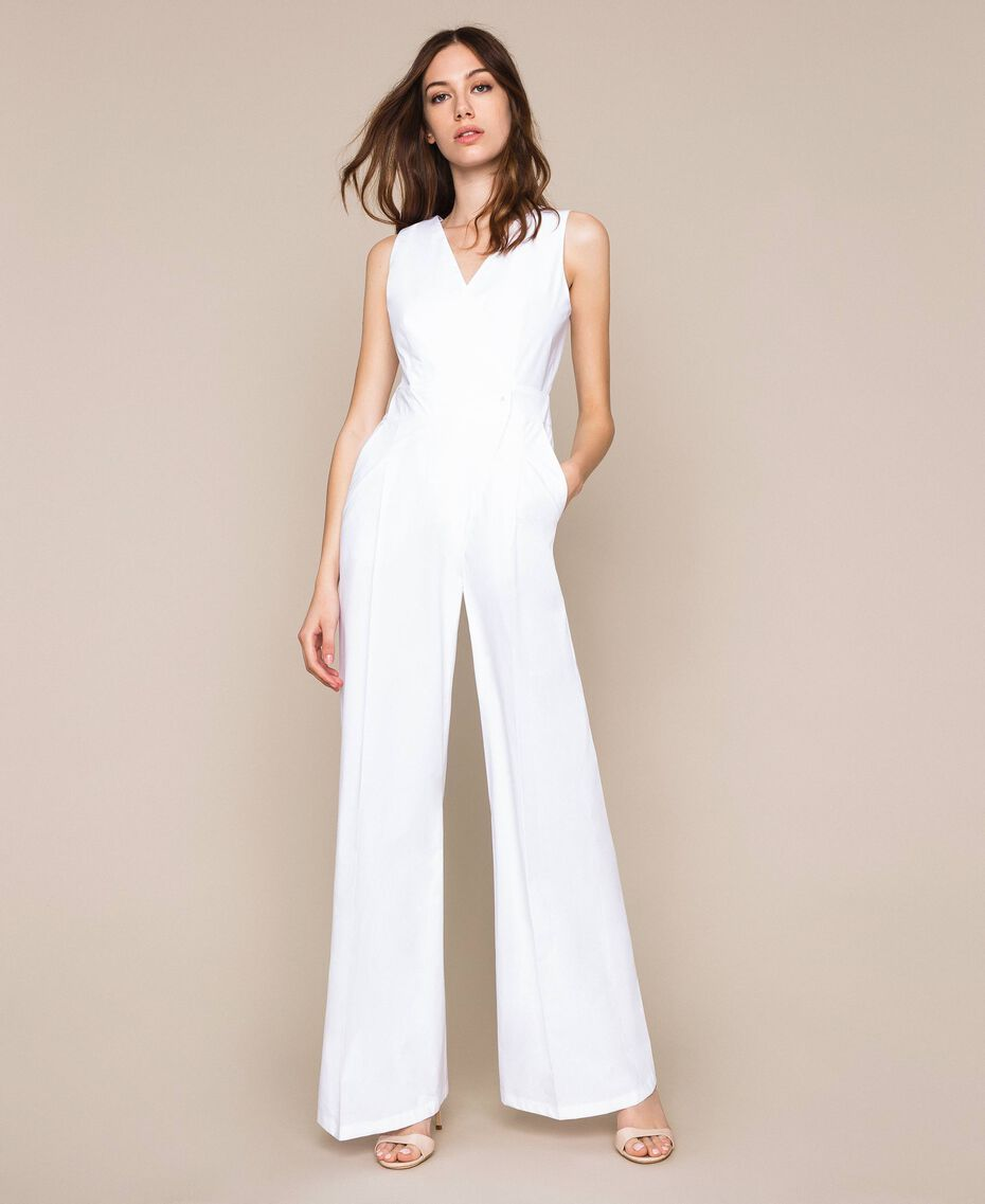 Poplin jumpsuit White Woman 201TT2038-02