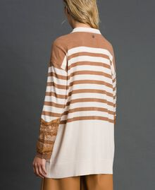 "Wool blend maxi cardigan with stripes and lace Creamy White / ""Sequoia"" Beige Woman 192ST3011-03"
