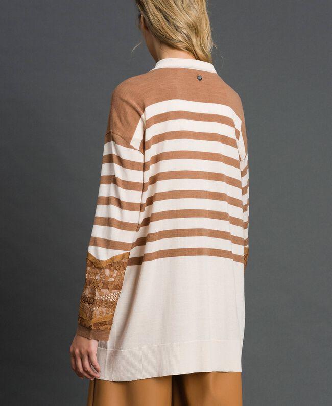 Maxi cardigan en laine mélangée avec rayures et dentelle Blanc Crème / Beige «Séquoia» Femme 192ST3011-03