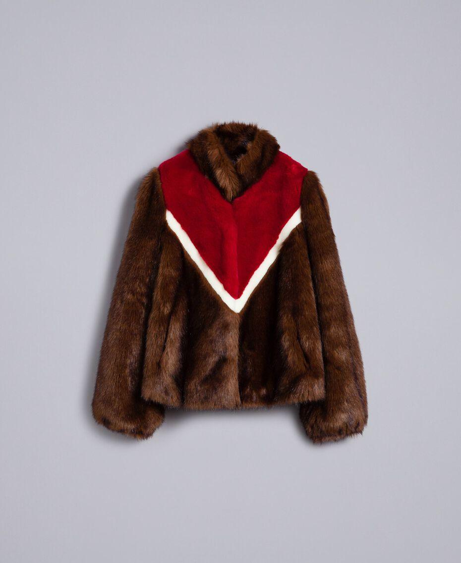 Jacke aus Pelzimitat mit Intarsien Mehrfarbig Mahagoni / Kirschrot-Fuchsia / Perlmutt Frau YA82CB-0S