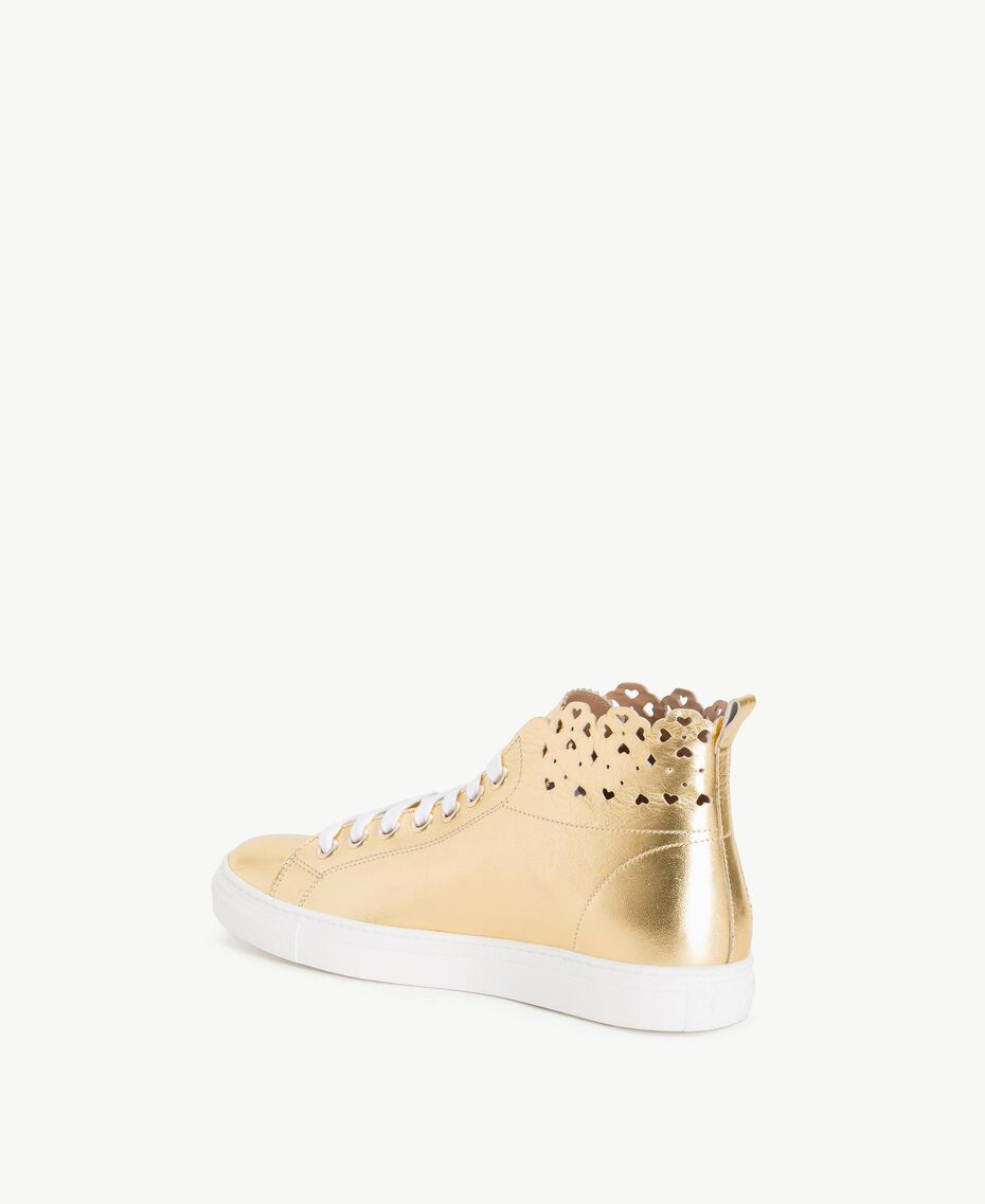 TWINSET Scalloped sneakers Gold Yellow Woman CS8TFW-03