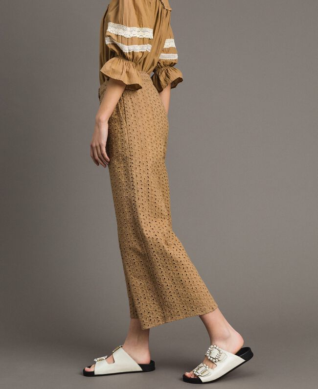 """Voile trousers with broderie anglaise embroidery """"Savannah"""" Beige Woman 191ST2115-03"""