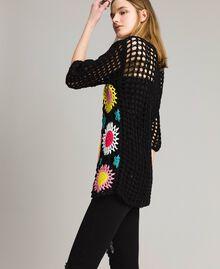 Maglia crochet con lurex Multicolor Nero Crochet Fiori Donna 191MT3051-02