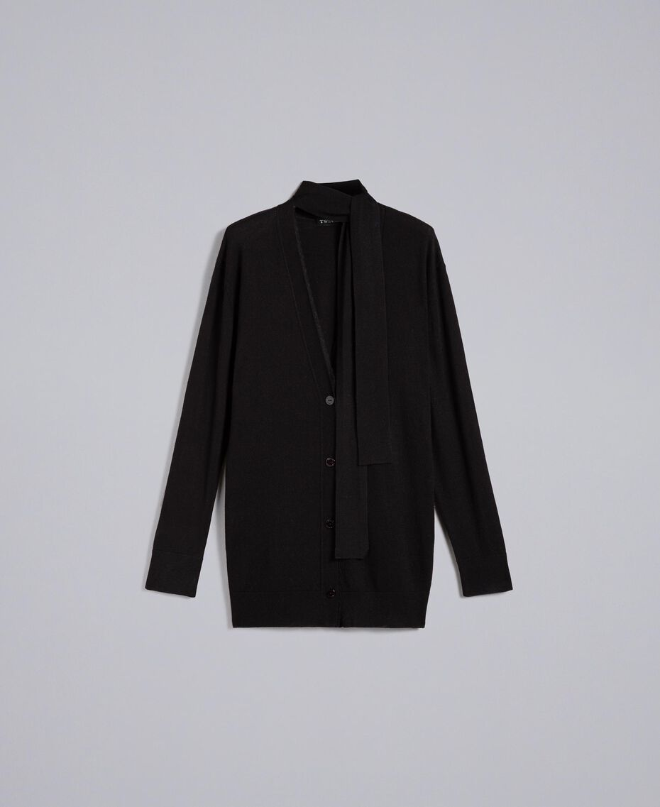 Silk and cashmere cardigan Black Woman PA83GG-0S
