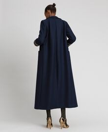 Double breasted wool cloth long coat Midnight Blue Woman 192TT2160-04