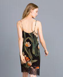 Printed georgette slip dress Maxi Black Tulip Print Woman TA828V-04