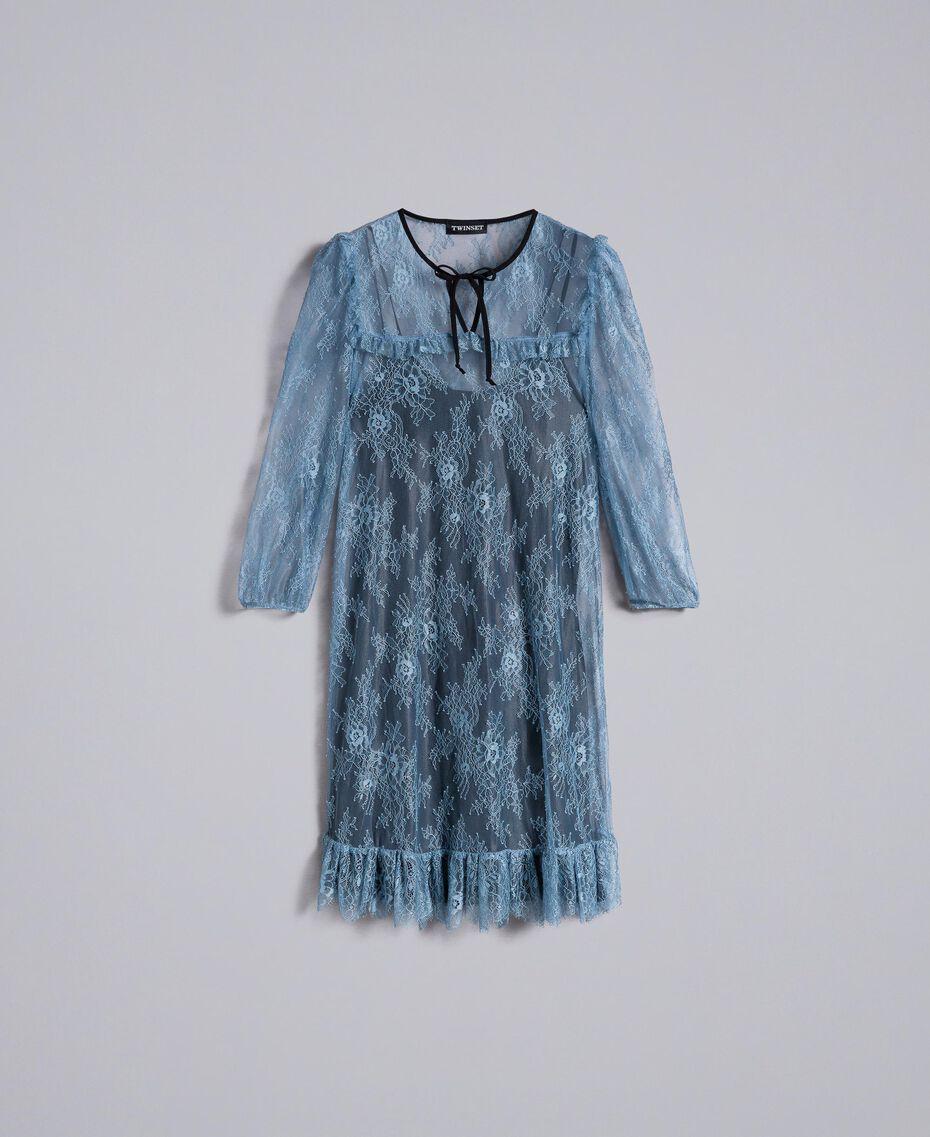 Vestido de encaje de Valenciennes Polvo azul Mujer PA82F1-0S