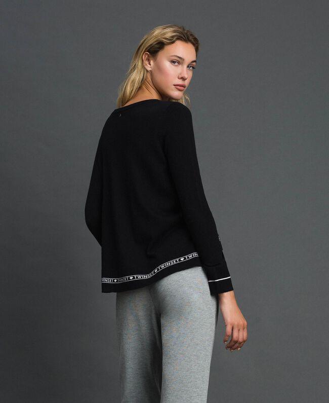 Pullover aus Seide und Kaschmir mit Logos Schwarz Frau 192TP3151-01