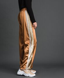 """Satin palazzo trousers with sequins """"Camel Skin"""" Beige Woman 192LI2RBB-03"""