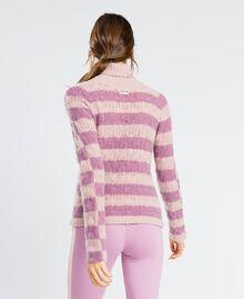 Pull en laine mélangée rayée Bicolore Rose Léger/ Rose Baroque Femme LA8PCC-03
