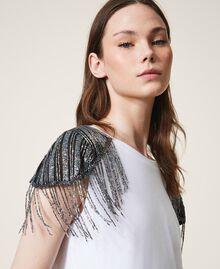T-shirt avec tulle brodé et franges Blanc Femme 202TT246A-04