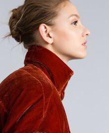 Short velvet padded jacket Reddish Brown Woman TA82BA-01